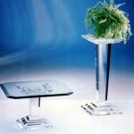 Acrylic Side Table 'Micene' mic-012, 500x500h400- Column 'Micene' 300x300x1000mm