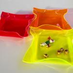 Cast acrylic trays- Fluo set - cm25x25
