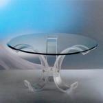 round dining table in acrylic 'Luna' diam 140cm