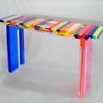 Acrylic console 'Multicolore' 1340x340h860mm. Design by Charlie Bounan