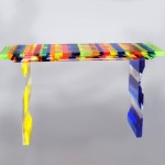 Acrylic console 'Multicolore' milled legs 1340x340h860mm. Design by Charlie Bounan