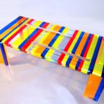 Coffee table in acrylic multicolor