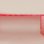 Cast acrylic Console table 'Red stripes'