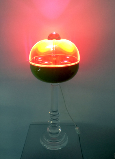 Lampada in plexiglass Globo blu con nodo, diam 350mm, h 600mm