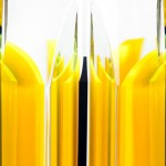 Sculpture in perspex 'Yellow stripes'