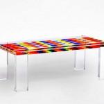 Tavolo da salotto in plexiglas colorato 'Mosaico'