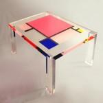 Tavolo da salotto in plexiglas colorato 'Un caffè con Mondrian'. Design by Marco Pettinari