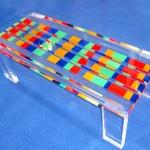 Tavolo da salotto in plexiglass colorato 'Mosaico'