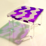 cast acrylic (lucite) side table FLUID cm50x50h40