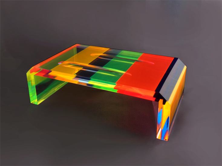 Coffee table in plexiglas multicolor iride cm 120x60h40 - Table basse multicolore ...