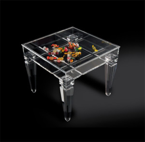 'Ricordami' display side table in acrylic, mm 500x500h450