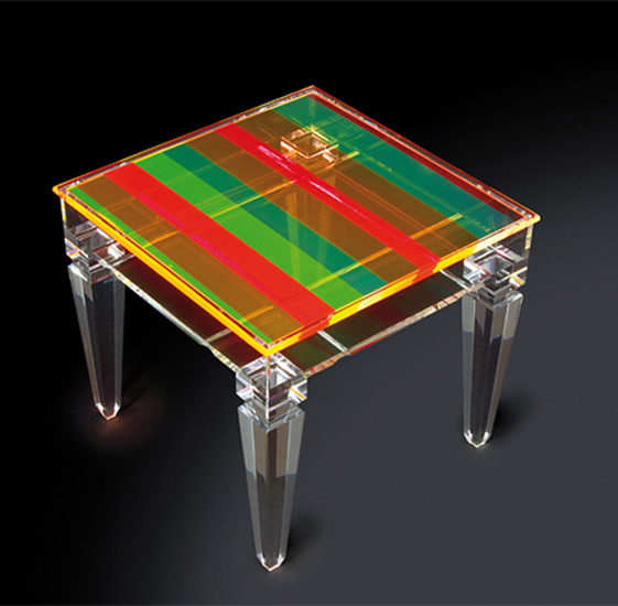 Display side table in colored plexiglas 'Bovary', mm 500x500h450