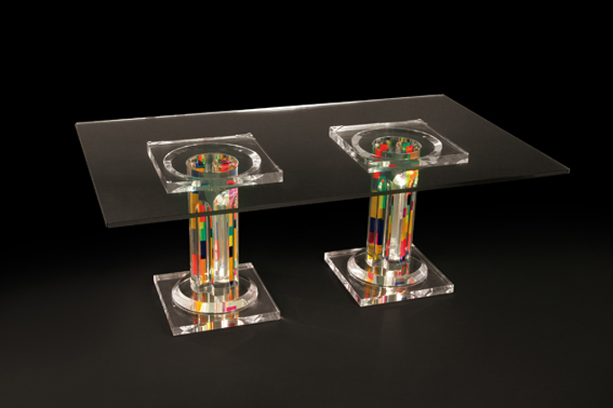 Lucite acrylic coffee table 'Colonna De La Cruz', mm 1200x600h450