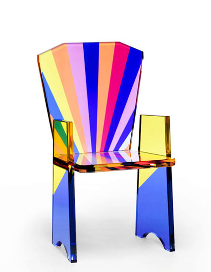 Chair in colored perspex 'Tronetto'