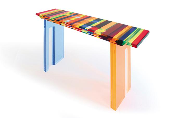 Lucite Acrylic console table 'Multicolore' mm 1350x350h850