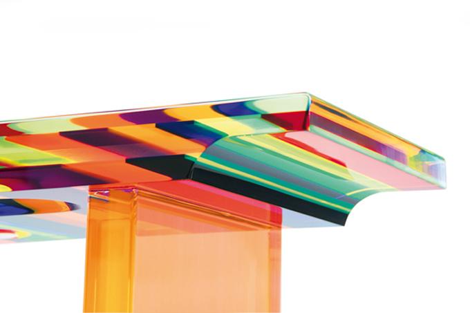Lucite Acrylic console 'Multicolore' detail