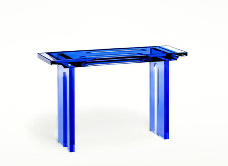 Lucite acrylic Console table  'Deepblue' 1350x350h850mm