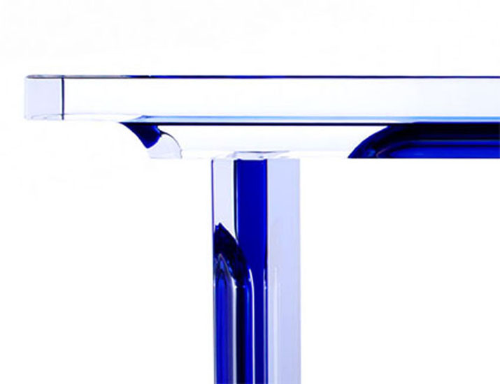 Lucite acrylic Console table  'Deepblue' (detail)