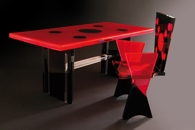 Colored plexiglass desk 'Coccinella', mm 1750x850h770