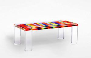 Tavolo da salotto in plexiglas colorato 'Mosaico' 1300x530h450