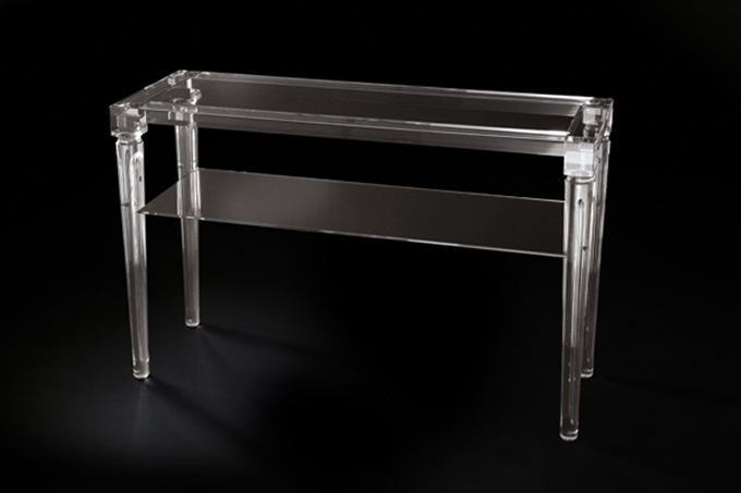 'Enea' two-shelf lucite acrylic console table, mm 1200x300h750