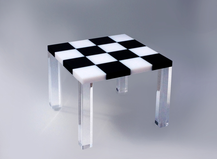 lucite coffee table '4QP' cm56x56h44