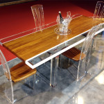 Dining Table lucite wood Stripes cm215x90h80