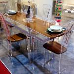Tavolo da pranzo plexiglas legno Stripes cm215x90H80