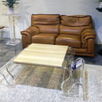 coffee table lucite wood waves cm150x74h44