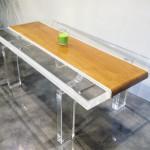 lucite wood coffe table stripes cm120x60h45
