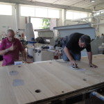 wood and lucite table sanding
