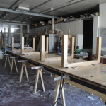 wood + lucite table setting legs