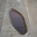 wood lucite table hole