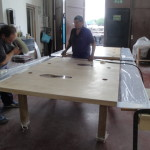 wood + lucite table 2 parts
