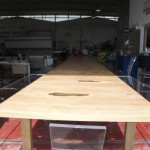 wood + lucite table cheering