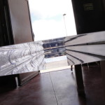 wood + lucite table detail