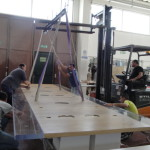wood + lucite table loading
