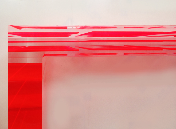 Lucite console table Red Stripes