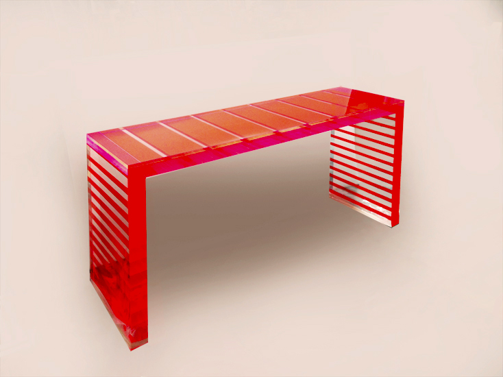 Console in Plexiglass Red Stripes