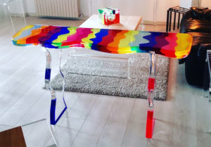 Cast acrylic console table 'Fluid' cm 138x39h81