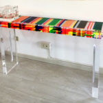 Colored cast acrylic console table 'Morse'