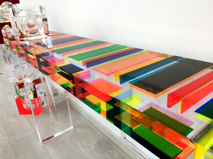 last cast acrylic console table poliedrica s